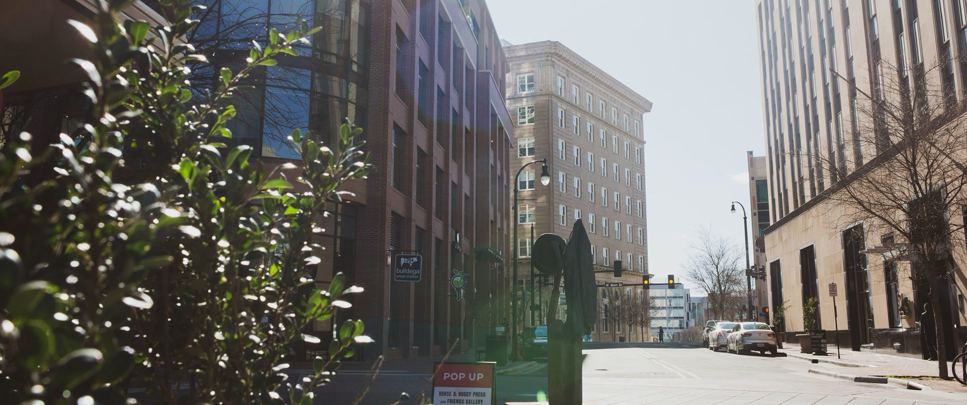 street level view of downtown Durham, NC